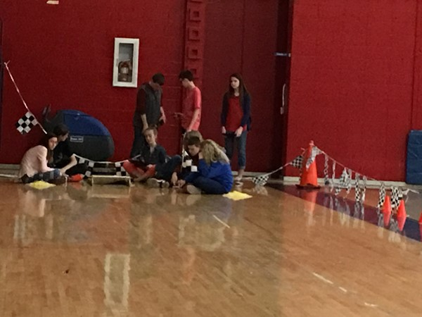 Martina Singletary's 8th grade Science class came over to the Administration Building gym on Wednesday, March 9, 2016.  They used CO2 Dragsters to study several science concepts.