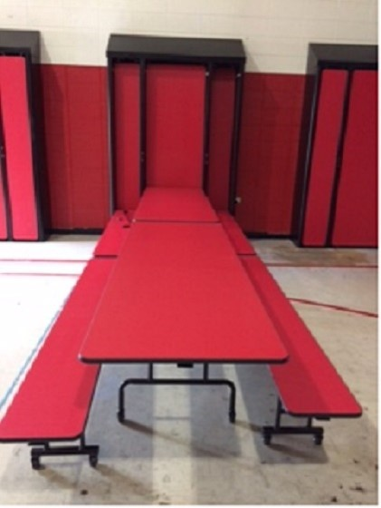 The table cabinets are mounted to the walls allowing the enclosed tables to be let down for the students to eat lunch and breakfast on.  This should make it much better to utilize the gym for physical education activities.