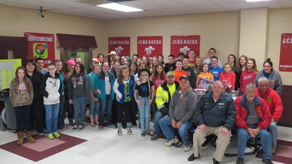 The JCMS 7th Grade Beta Club sponsored a Toy Drive in cooperation with the McKee Fire Department.  The students collected toys and gave them to the fire department to deliver to needy children in our community.