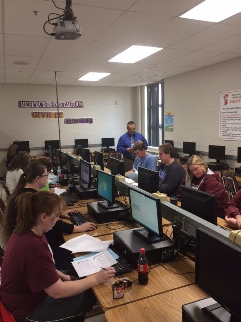 JCMS teachers working on NTID lessons.