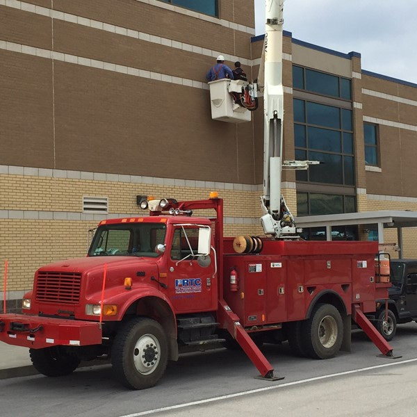 JCHS and the ATC now have wireless access points in every classroom, and in common areas such as:  the cafeteria, lobby, library and gym.  Thanks to PRTC for providing a bucket truck, so we could install one of the access points.
