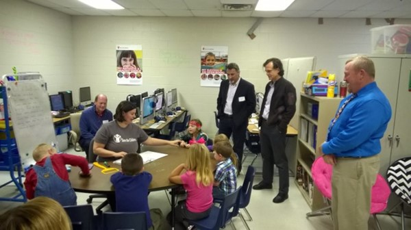 At each of the elementary schools, they met with the principals, observed reading lessons, participated in fitness lessons, and accompanied local staff on a home visit to observe work being done to get very young children ready for preschool.